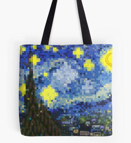8-bit Starry Night Tote Bag