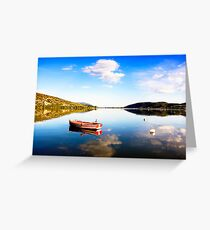 Boat in Kastoria lake (Makedonia, Greece) Greeting Card