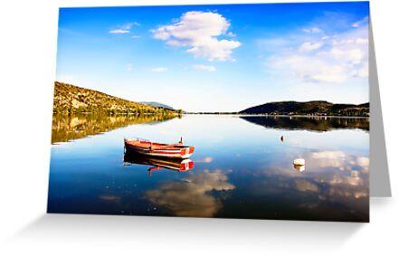 Boat in Kastoria lake (Makedonia, Greece) by Tania Koleska