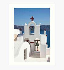 Santorini Bell Tower Art Print
