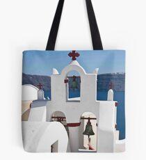 Santorini Bell Tower Tote Bag