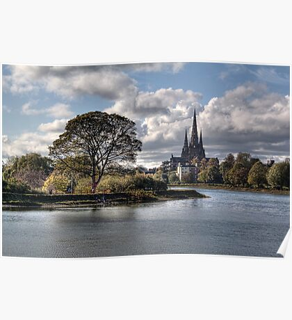 Stowe Pool and Lichfield Cathedral, England Poster
