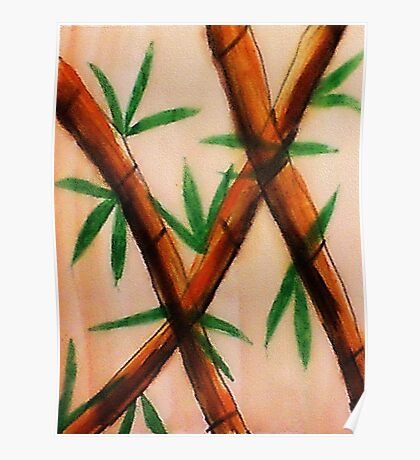 Bamboo,  4th version, watercolor Poster