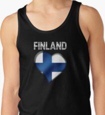 Finland - Finnish Flag Heart & Text - Metallic Tank Top
