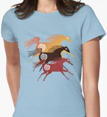 Three Ancient Horses Women's Fitted T-Shirt