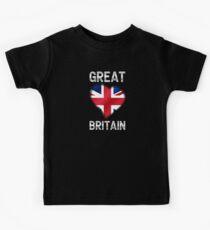 Great Britain - British Flag Heart & Text - Metallic Kids Tee