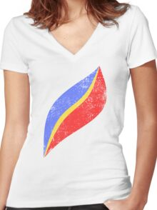 Cap EO Distressed Women's Fitted V-Neck T-Shirt