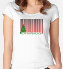 MERRY XMAS BARCODE Women's Fitted Scoop T-Shirt