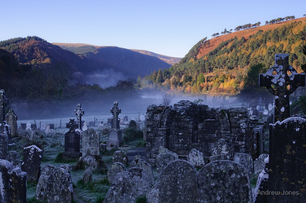 Graveyard in mist, Glendalough, County Wicklow, Ireland by Andrew Jones