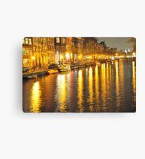 Amsterdam - Night Street Mirror Canvas Print