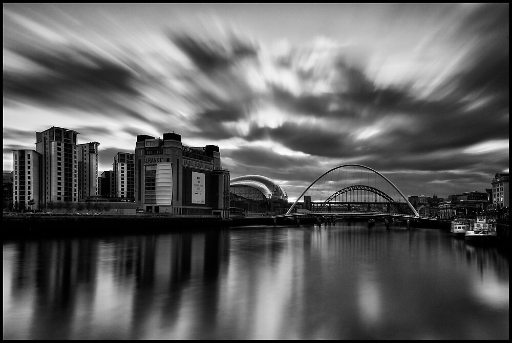 Newcastle/Gateshead Quayside Mono Long Exposure by Philip  Whittaker