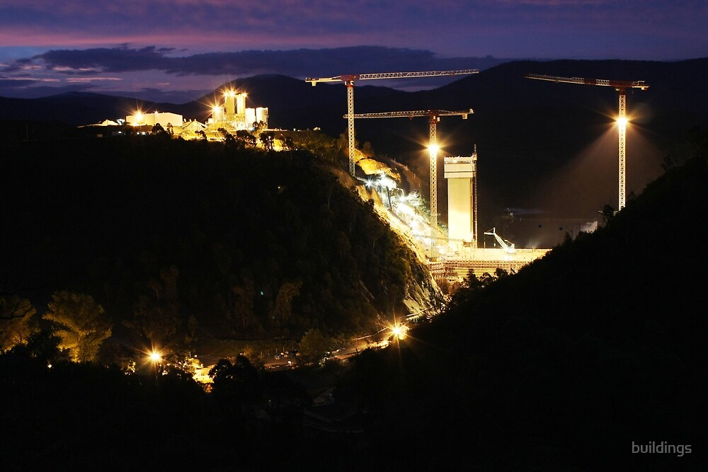 Cotter Dam Enlargement (by night) by buildings