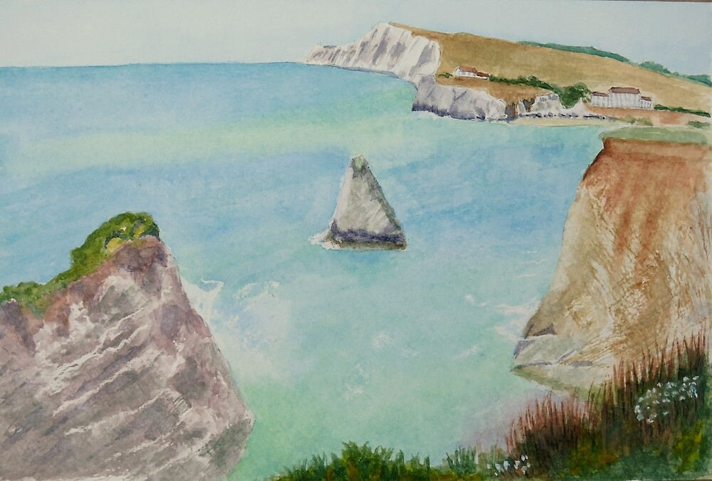 Freshwater Bay IOW, by John Rees by HurstPainters