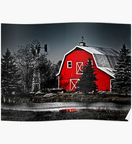 Vibrant Red Barn  Poster