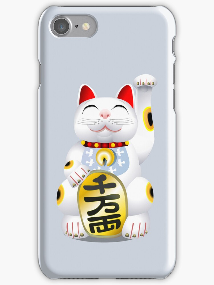 Money Cat Grey iPhone Case - Eyes Closed by Kim  Lynch