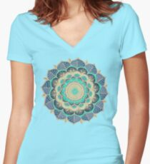 Midnight Bloom Women's Fitted V-Neck T-Shirt