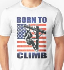 american power lineman electrician repairman pole retro Unisex T-Shirt
