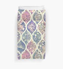 Patterned & Painted Floral Ogee in Vintage Tones Duvet Cover