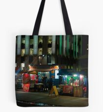 Two Hot Dog Stands And A Burger & Fries Stand in Front of City Hall Tote Bag