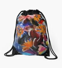 Falling Flowers in Water Fall - painting by Jenny Meehan Drawstring Bag