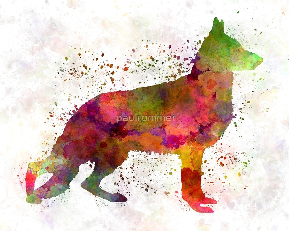 German Sherpherd dog 01 watercolor by paulrommer