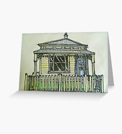 Single fronted house. Melbourne, Australia.© Pen and wash on fabric. Greeting Card