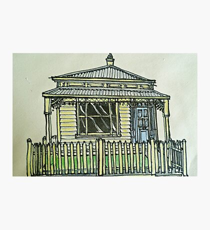 Single fronted house. Melbourne, Australia.© Pen and wash on fabric. Photographic Print