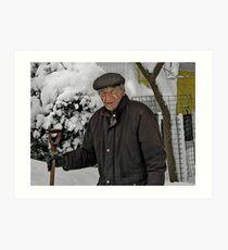 Tom Shovels snow Art Print