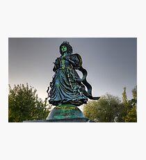 Interesting statue near river Photographic Print