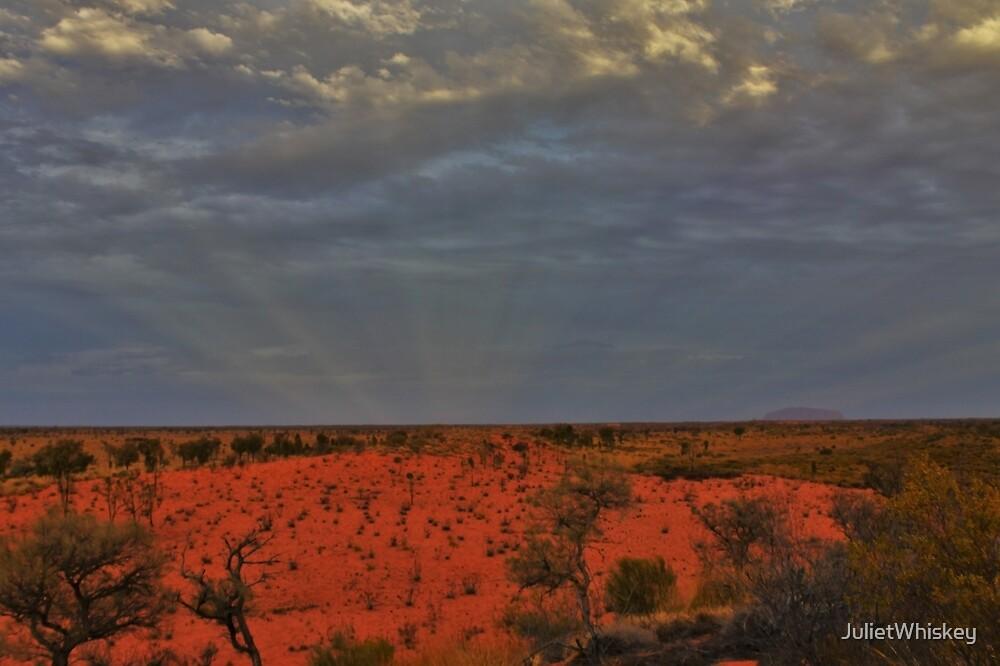Sun Rays over Uluru by JulietWhiskey