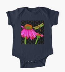Flower Pop, floral Pop Art Echinacea, dragonfly One Piece - Short Sleeve
