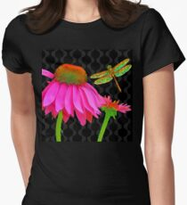 Flower Pop, floral Pop Art Echinacea, dragonfly Womens Fitted T-Shirt