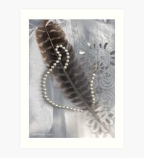 Feather and pearls and a broken heart.. Art Print