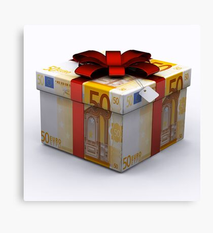 EURO Present Box with Red Ribbon Canvas Print