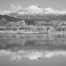 Colorado Longs Peak Circling Clouds Reflection BW by Bo Insogna