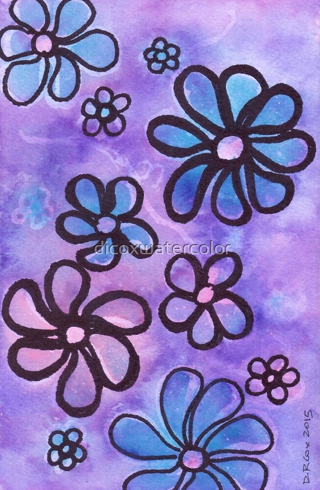 Funky Flower Power by dicoxwatercolor
