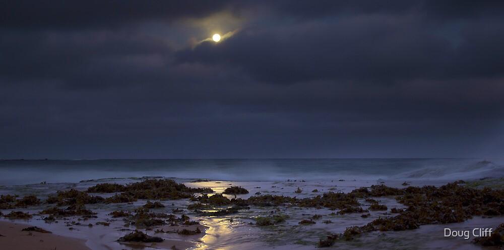 Moon over beach by Doug Cliff
