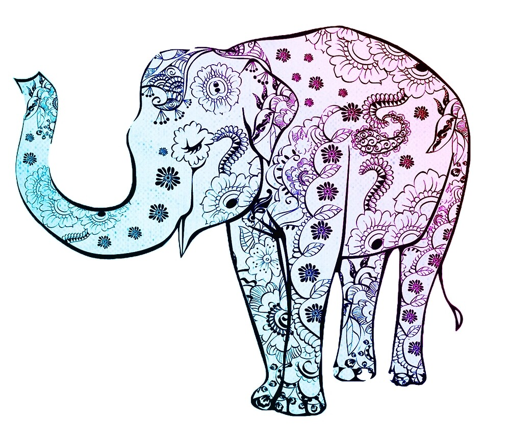 Decorative elephant drawing by mosfunky