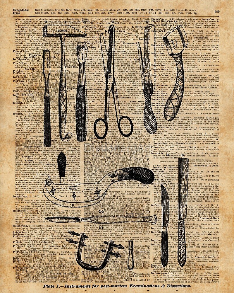 Antique Surgical Kits,Anatomy Medical Instruments,Surgery Asylum Vintage  Decoration,Dictionary Art, by DictionaryArt