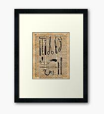 Antike chirurgische Kits, Anatomie medizinische Instrumente, Chirurgie Asyl Vintage Dekoration, Wörterbuchkunst, Gerahmtes Wandbild