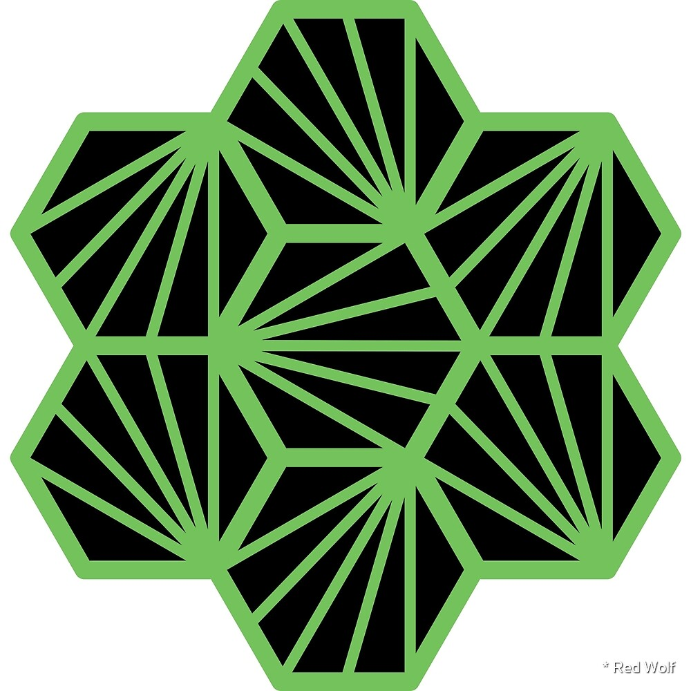 Geometric Pattern: Hexagon Ray: Black Green by * Red Wolf