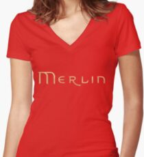 Merlin text Women's Fitted V-Neck T-Shirt