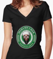 Osama Bin Lager Women's Fitted V-Neck T-Shirt