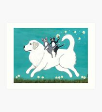 Great Pyrenees and Cats Art Print