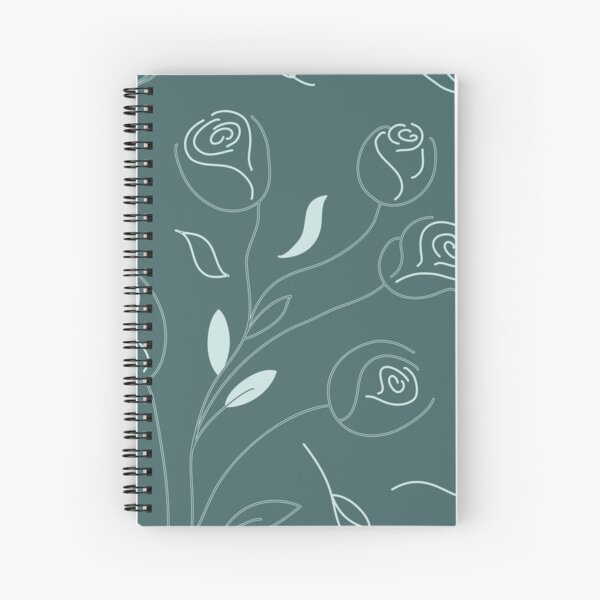 Pine & Mint Roses Collection Floral Seamless Surface Pattern Spiral Notebook