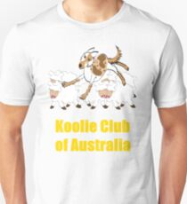 Red Merle Koolie backing sheep T Shirt yellow print Unisex T-Shirt
