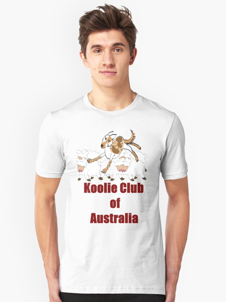 Koolie on cute sheep over Koolie Club of Australia black Unisex T-Shirt Front