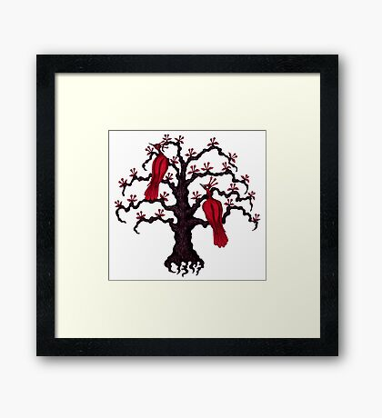 Red Birds in Love surreal black and red ink pen drawing Framed Print