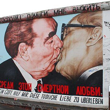 Brezhnev and Gorbachev kissing on Berlin Wall by 64stops