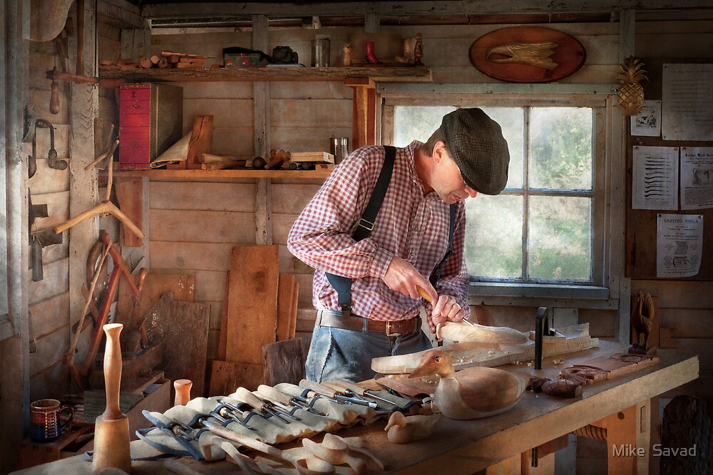 Woodworker - Carving - Carving a duck by Michael Savad